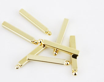 Gold Plated Bars Charm Supply  Gold Bar Pendant Necklace Findings , Making for Jewelry 4 Pcs / GBC -1