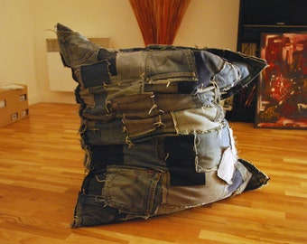 Pouf, bag, sitting, floor cushion (jeans)