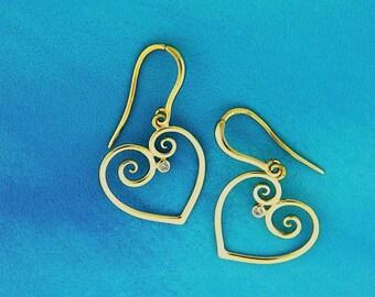 Heart of Gold Earrings, Diamond Heart Drop Earrings, 14K Dangles, Gold and Diamond Drops, gift of love, Asymmetric hearts, bridesmaid gift