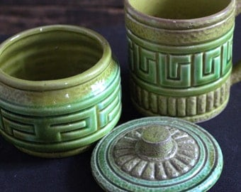 Vintage Ceramic Small Cup and Sugar Bowl with lid, Made in Japan, Japanese cup and bowl with lid, green ceramic Japanese ware