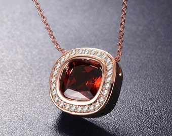 Rose Gold Plated Necklace Garnet Crystal Jewelry - BD171330