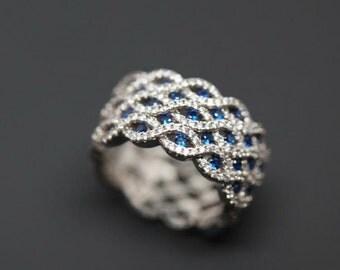 Unguru Series - Sterling Silver 925 blue Cubic Zirconia Ring