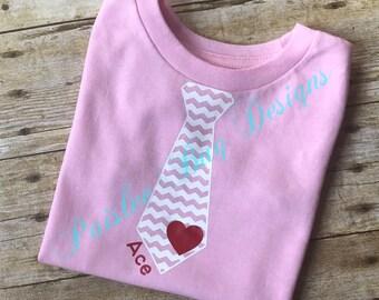 Valentine's Tie Shirt, Valentine's Shirt, Boy's Valentine's Shirt, Personalized Valentine's Shirt