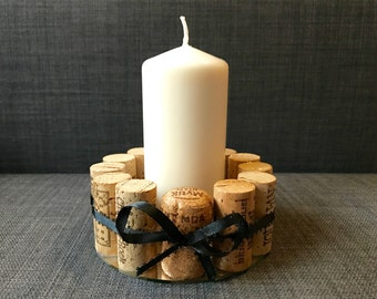 "5"" Round wine cork mirror candleholder with ribbon - gifts for her - valentines day gift - wine gift - handmade - catchall - bridesmaid gift"