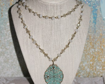 Long Rosary Necklace - Blue Pendant