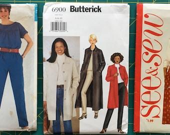 Sizes 6-8-10 Lot of 3 Sewing Patterns Jumpsuit Jumper Top Jacket Coat