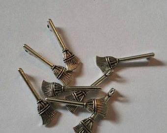 Alloy Magic Broom Charms Pendants