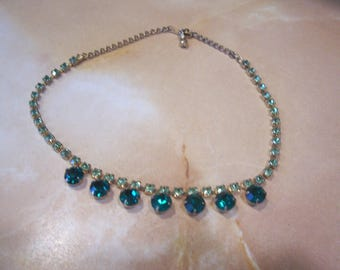 Emerald Green and Lime Green Rhinestone Choker Necklace