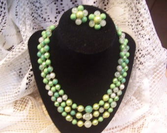 Seaform Green Triple Strand Necklace and Earring Set, Japan