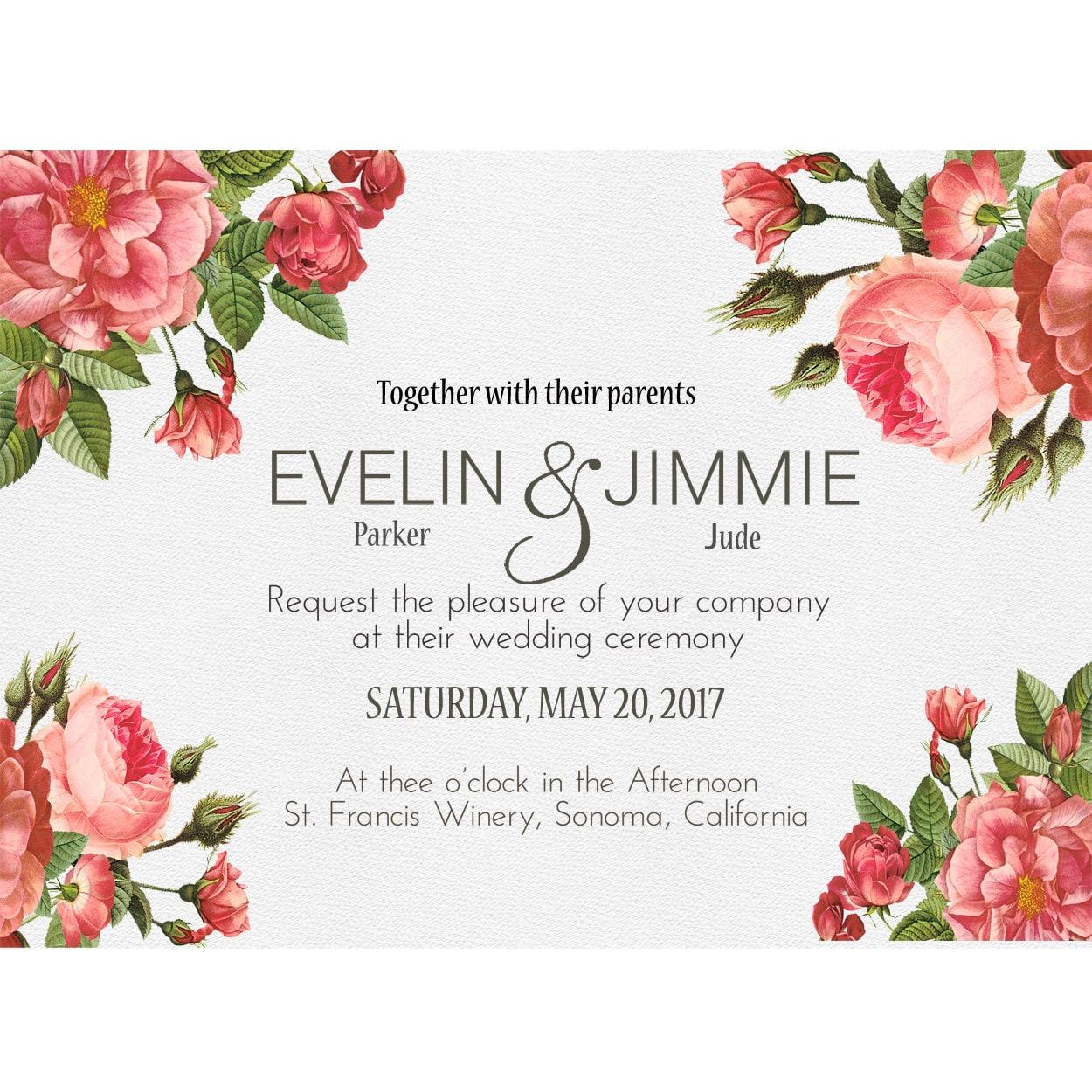 Wedding Invitations | French Strawberry Pink Floral Invitation ...