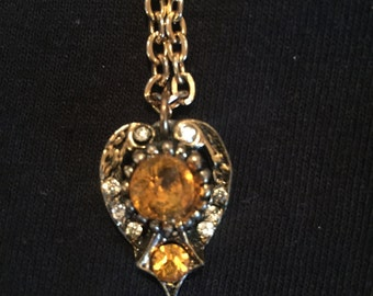 Yellow Rhinestone Vintage Necklace