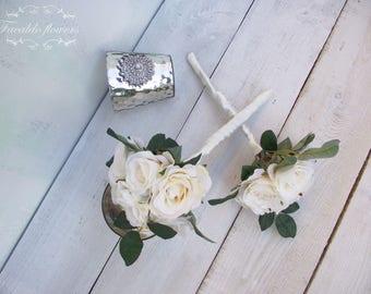 Wedding flowers flower girl wand artificial silk flowers ivory cream rose rustic boho vintage flower girl bouquet garden flowers