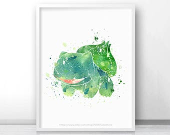 Bulbasaur pokemon Watercolor - Watercolor Painting - Printable - Watercolor Art - Kids Decor - Nursery Decor