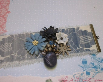 Baroque blue and white linen Cuff Bracelet