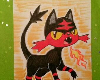 Artist's Trading Card - Litten - Pokemon Sun and Moon