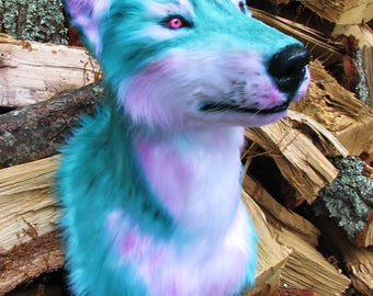 Fantasy aqua & pink fur reproduction wolf shoulder wall mount