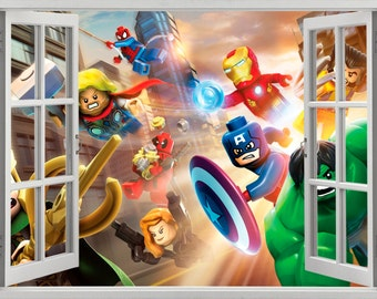 Lego Stickers Etsy - Lego superhero wall decals