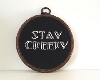 Stay Creepy Addams Family Inspired Framed Cross Stitch