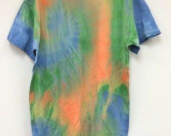 Tie Dye T-Shirt, Orange, Green, Blue, Gildan Medium