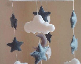 baby mobile, stars and cloud baby mobile, unisex grey and white felt nursery mobile