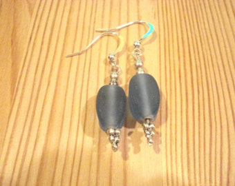 Blue Sea Glass on Silver Wires