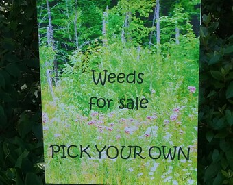 Garden Flag, 12x18, Weeds for sale...Pick your own