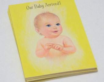 Vintage Baby Arrival Cards,  Birth Announcement, Baby Boy, Baby Girl , Gender Neutral