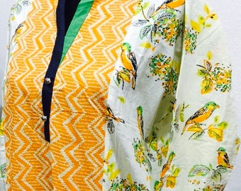 Spring Bird Print Design Cotton Kurti/ Tunic/ Indian Bird Print Kurti/ Indian Wear