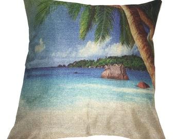 Beach Scene Pillow 17 x 17 Tropic View Palm Tree Cotton Linen Beach1