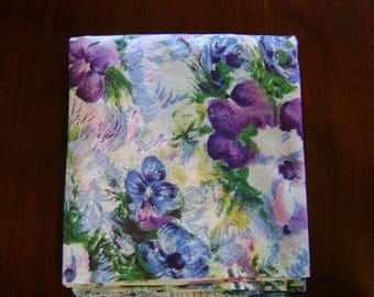 2 1/2 Yards Vintage 1980's Purple Blue Floral Watercolor Cotton Fabric