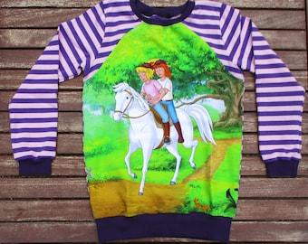 Long-sleeved shirt, sweater, Long Sleeve Gr. 116 Mädchen.Bibi Blocksberg and Tina on the Pferd.Zauberlehrling