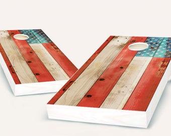 Distressed American Flag Cornhole Set