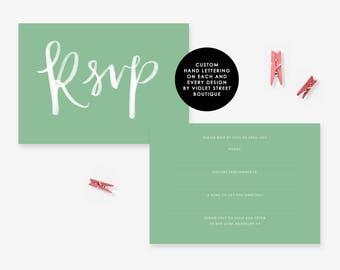 Printable RSVP Card, Mint Wedding RSVP, Mint Wedding Invitation Element, Mint Wedding, Mint RSVP Post Card, rsvp postcard, rsvp printable