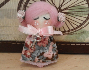 Pulgarcita Doll Brooch doll textile doll rag doll embroidered face sweet doll pink gift mum special day collectable doll soft doll