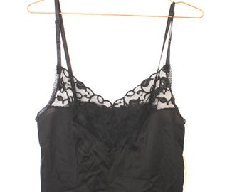 VINTAGE Black lingerie camisole with lace
