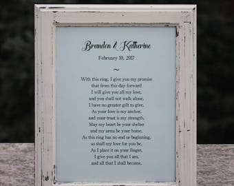 Wedding vows framed etsy custom wedding vows framed wedding gift for couple wedding gift ideas first anniversary gift junglespirit Image collections