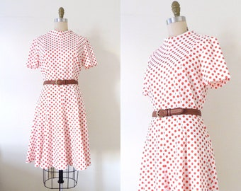 Vintage 1960s mod scooter dress | 60s red and white polka dot a-line knit dress | space age dress | fit and flare | polyester knit dress | M