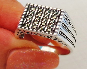 Handmade MEN's RING 925 STERLING silver With black Marcasite stone #471