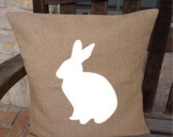 Burlap Pillow Cover Easter Rabbit