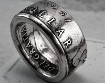 SILVER 1951 Canadian Dollar Coin Ring