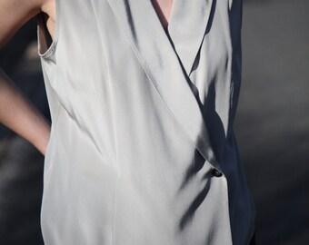 80s Sleeveless Slate-Grey Silk Blouse- Size Medium