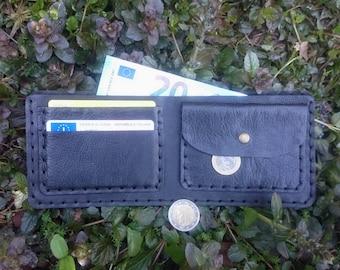 Black Wallet, handmade leather. Portafoglio in pelle nera fatto a mano, vera pelle toscana. 100% handmade (No machines)