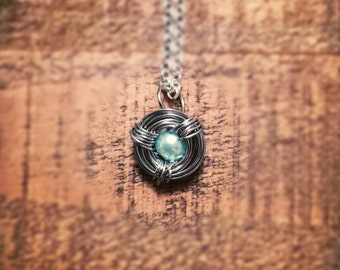Bird Nest Necklace with One Blue Pearl Bead Egg - Perfect for Mother's Day, Grandmothers, Sisters, Daughters, and Friends!