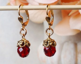 Garnet Dangle Earrings.Red Crystal Drop.Gold.Bridal.Statement.Dainty.Small Earrings.Tiny.Holiday.Ruby.Formal.Colorful.Bold.Boho.Handmade.
