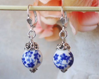 Artisan Glass Dangle Earrings.Blue.White.Flower earrings.Silver.Statement.Small Earrings.Bridal.Floral.Lampwork.Dainty.Bridesmaid.Handmade.