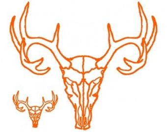 Deer Skull Neon Orange Adults T-shirt