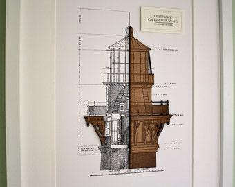Lighthouse Blueprint, Wood Cut, Nautical decor, Lighthouse Decor, Blueprint Wall Art, Cape Hatteras Lighthouse, Seaside Decor, 8x10 or A4