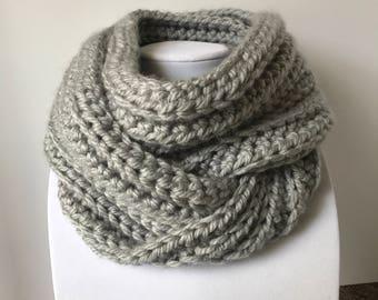 Gray Alyssa infinity cowl handmade crochet or infinity scarf