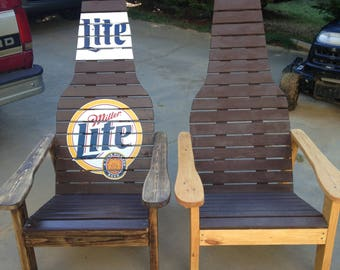 Outdoor furniture , Wood chair, Beer bottle Adirondack chair , fire pit chair, unique gift ,