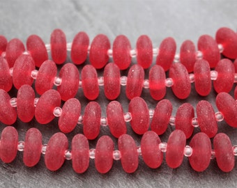 Recycled Glass Bead Strand, Cherry Red. Rondelles. 5mm x 12mm